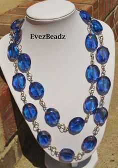 "44"" LONG ELECTRIC BLUE AB CRYSTAL NECKLACE 