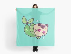 A cute design of an adorable, fat, cartoon pug that is a mermaid. The merpug has a sparkling green tail fin, a pink seashell bra, blushing cheeks, and is surrounded by blue bubbles. Great as bags, mug, t-shirts, pillows, and stickers. Perfect for those who love mermaids, funny art, animals, dogs, pugs, nautical themes, and kawaii art. • Also buy this artwork on scarves, apparel, stickers, and more.