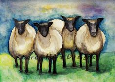 Sheep grazing in the pasture by SharonHArtDesigns on Etsy, $5.00
