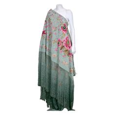 Extraordinary hand embroidered celadon silk shawl | Spain, 1920's | Heavy celadon silk is completely embroidered, covered with amazing fuschia tones florals and foliage. Thick silk hand knotted fringe on all sides. Reversible