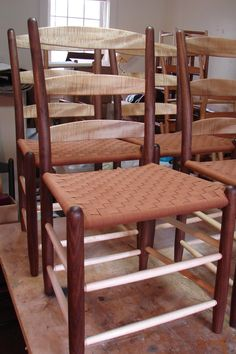 A walnut and spalted red maple three-slat Tappan Side Chair, with a butternut checkerboard weave Side Chairs, Dining Chairs, Wishbone Chair, Weave, Patterns, The Originals, Red, Furniture, Home Decor