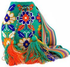 Persian Green, Indigo, White and Orange Flower Wayuu Mochila Bag