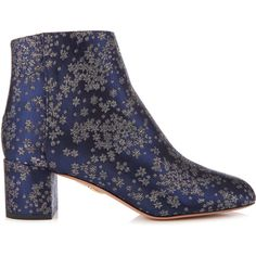 Aquazzura Brooklyn stardust-jacquard ankle boots (£665) ❤ liked on Polyvore featuring shoes, boots, ankle booties, navy multi, navy blue booties, aquazzura boots, block heel booties, navy boots and ankle boots
