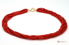 Extra Red Coral Necklace drum shape 2½mm 10 strands in Gold 18K Collana Corallo rosso Extra Torchon cannettine 2½mm 10 fili in Oro 18K
