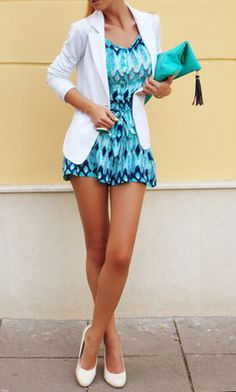 blue dress and white blazar, so classy for summer