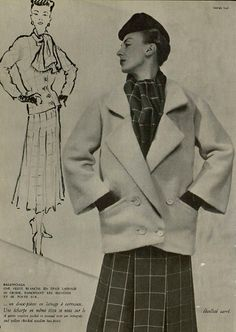 1952 Balenciaga coat over two-piece ensemble.
