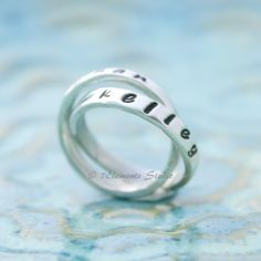 Mother's Ring, Personalized Ring, Double Mother's Ring, Sterling Name Bands, Nested Rings, Interlocking Rings, Kids' Names Rings. $60.00, via Etsy.