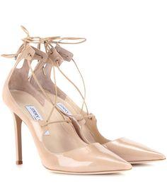 JIMMY CHOO Vita 100 Patent Leather Lace-Up Pumps. #jimmychoo #shoes #pumps
