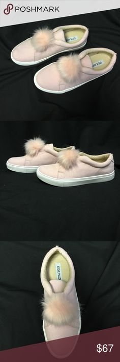 Steve Madden Women PomPom Sneakers  Soft Pink 8.5 This year's trend is Fur and pompom. Complete your look with this trendy, stylish, super comfortable and quality shoes from famous brand Steve Madden. Steve Madden Shoes Sneakers