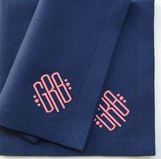 Monogrammed Dinner Napkin Linen Plain Hem Various by dowries, $26.00