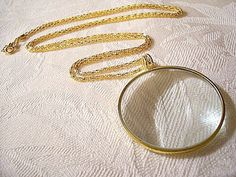 Magnifying Glass Necklace Gold Vintage Pendant Decorative Weaved Chain