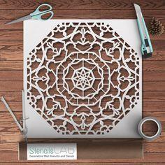 Decorative Mandala Style Stencil - Reusable Furniture Decor Stencil