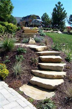 Landscape design - 33 Affordable Landscaping Ideas With Mulch And Rocks 37 – Landscape design Landscape Stairs, House Landscape, Garden Landscape Design, Landscape Timbers, Landscape Bricks, Landscape Lighting, Landscaping Supplies, Front Yard Landscaping, Backyard Landscaping