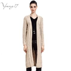 Young17 clearance Long Loose Sweater Women Cardigan Autumn And Winter 2016 Elegant Long Sleeve Knee Length Cardigan Tops Sweater