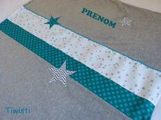 Grande couverture  bébé/ enfant personnalisée , grise et turquoise , étoile ,1m/1.2m