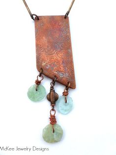 Greek waters. Copper, Greek glass, recycled glass necklace. McKee Jewelry Designs