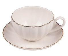 Fine China Tasse Belle mit Untertasse, H 6 cm