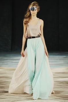 Light green long skirt