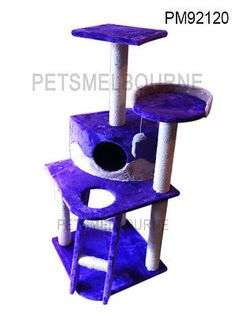 Cat Scratching Post Pole 120cm Cat Kitten Pet tree condo house bed Purple