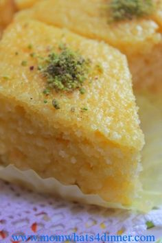 Revani is an Albanian and Turkish cake. It's dry when baked, and the syrup is what makes it moist and tender. I love this recipe. Albanian Recipes, Turkish Recipes, Greek Recipes, Indian Food Recipes, Whole Food Recipes, Cooking Recipes, Albanian Cuisine, Albanian Food, Greek Sweets