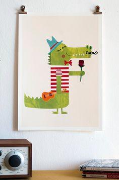 ♥♥ Romantic Print Crocodile Illustration Cute by paolamezzaroma