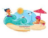 Ilustración Digital de niños en la playa.