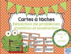 Word Problems Task Card French/ Les cartes à tâches Résolution de problèmes Learning Centers, Math Centers, Kids Learning, Math School, French Resources, French Immersion, Document, Button Art, Word Problems