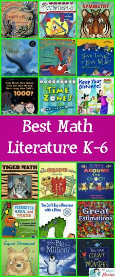 The Math Maniac Monday Math Literature Volume Included is a list of over 100 of the best piece of literature to include in math lessons. You can read more about each book and check out some of the lessons and activities you can do with them. Math Literacy, Homeschool Math, Guided Math, Kindergarten Math, Fun Math, Math Games, Teaching Math, Math Activities, Math Vocabulary