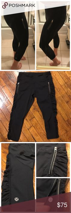 Lululemon Crops with Zipper Pockets So cute! Just fit a bit tighter than I'd like. I'm typically a 6, and sometimes a 4, in lulu, so I'd say these fit on the smaller side and would be better for someone who is more consistently a 4 in lulu sizing. Excellent, very gently used condition with no pilling or any other imperfections. Cute side ruffles. Reflective trim around the zipper pockets. Continuous drawstring. Mesh-like fabric on the bottom (not see-through mesh). lululemon athletica Pants…