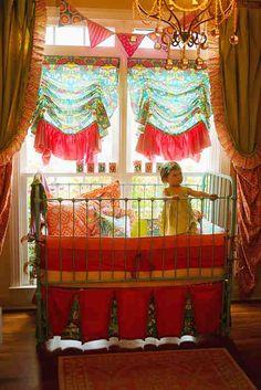 bohemian/gyspy Nursery idea. Gaudy as hell but fun. Love all the colors.