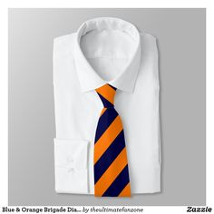 Blue & Orange Brigade Diagonally-Striped Tie