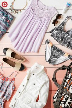 Ten must-have pieces to pack: Bathing suits, skirts and rompers in bold prints will brighten up any warm-weather getaway; add pastels and neutrals (like a lavender tank or white jean jacket), some super-cute accessories, and you've got everything you need..