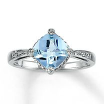 Sterling Silver Diamond & Aquamarine Ring at Kay Jewelers @}-,-;--
