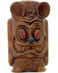 Rat Fink Tiki by Munktiki Tiki Art, Tiki Tiki, Tiki Lounge, Vintage Tiki, Tiki Torches, Rat Fink, Tiki Room, Lowbrow Art, Wood Carving
