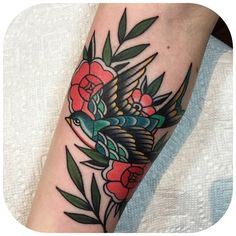 Traditional bird and flowers by becca genné-bacon The End Is Near/Hand Of Glory Tattoo Brooklyn #TraditionalTattoos