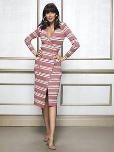 98022a9a321 Delora Metallic Stripe Sweater Dress - Eva Mendes Collection
