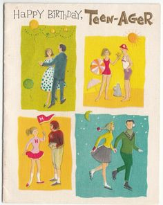 Vintage Teenagers Dancing Skating & Football Birthday Greeting Card