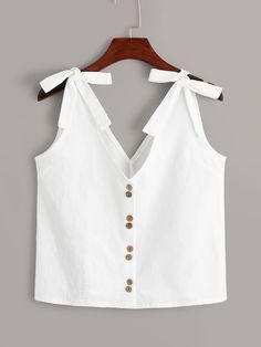 To find out about the Bow Tie Button Front Top at SHEIN, part of our latest Women Tops ready to shop online today! Crop Top Outfits, Summer Outfits, Cute Outfits, Look Fashion, Fashion Outfits, Diy Clothes, Clothes For Women, Minimal Fashion, Blouse Designs