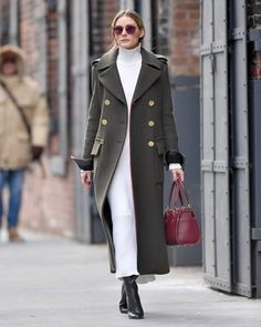 Celebrity Street Style Olivia Palermo in a white turtleneck midi dress, long olive green coat and black booties - click through for more winter outfit. Estilo Olivia Palermo, Olivia Palermo Lookbook, Olivia Palermo Style, Olivia Palermo 2017, Look Fashion, Winter Fashion, Womens Fashion, Fashion Trends, Milan Fashion
