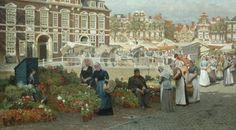 Johannes Christiaan Karel Klinkenberg (Den Haag 1852-1924) Gezicht op de Grote Markt in Den Haag met twee vrouwen in Zuid-Hollandse dracht - Kunsthandel Simonis en Buunk, Ede (Nederland).