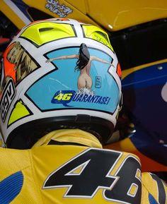 Steve McQueen on Valentino Rossi helmet motorcycle
