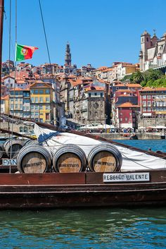 Rabelo boat, transporting the PortWine along the Douro River, Oporto city, Portugal Sailing Cruises, Yacht Cruises, Portugal Flag, Portugal Travel, Gaia, Travel Around The World, Around The Worlds, Sea Activities, Iberian Peninsula