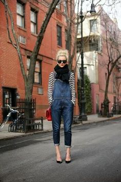 Overalls & striped shirt - 50 Spring Outfit Ideas | StyleCaster