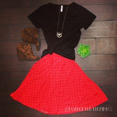 Lularoe outfit perfect for fall. Black perfect t paired with red gingham Madison skirt and Leopard wedge booties.