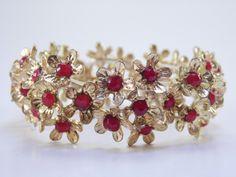 Vintage 6 Inch Flower Floral Motif Red Rhinestone Stretchy Adjustable Elastic Goldtone Bracelet $18