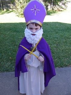 Girls cousins, please look away! BigBoy wants his costume to be a surprise! BigBoy wanted to be St. Blaise at our All H. Catholic Crafts, Catholic Kids, Catholic Saints, Boy Costumes, Halloween Costumes, Costume Ideas, Saint Costume, Saint Blaise, St Ambrose
