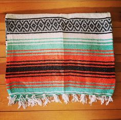 "Red Gold Green Mexican Throw Blanket Yoga Boho Mat Blanket 50"" x 74"" Rasta Rug"