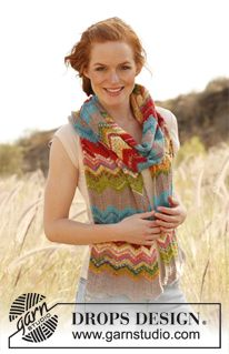 knitted zigzag scarf DROPS Spring/Summer 2012