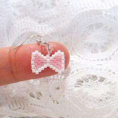 Mini Pink Bow Beaded Earrings, Seed Bead Jewelry, Sterling Silver Ear Wire
