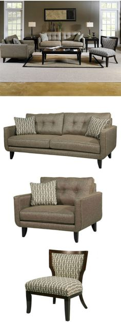 This gorgeous 3 piece made to order living room set combines contemporary and retro style with its clean lines, tufted backs, groovy patterned pillows, beige poly blend fabric upholstery that ensures it complement your decor. Set includes one sofa, one chair, one occasional chair and three accent pillows.